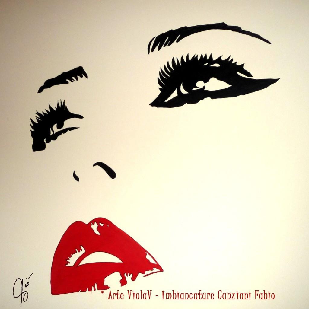 viso donna dipinto su parete CF 2