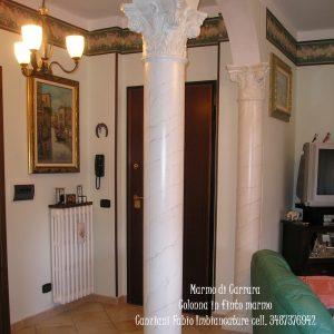 colonne in finto marmo di carrara posa